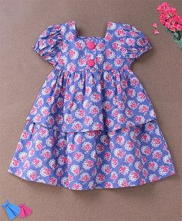 De Berry Floral Print Baby Dress - Blue