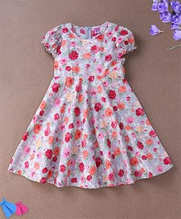 De Berry Floral Print Baby Dress - Light Grey