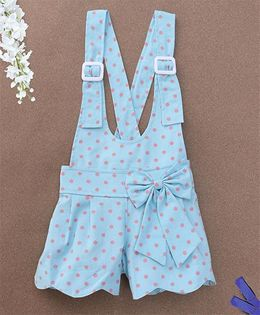 De Berry Polka Dot Print Baby Dungaree - Blue