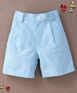 De Berry Polka Dot Print Baby Shorts - Aqua Blue