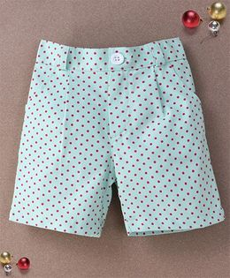 De Berry Polka Dot Print Baby Shorts - Green