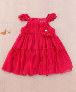 One Friday Rosette Frilly Dress - Fuchsia
