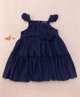 One Friday Rosette Frilly Dress - Navy Blue