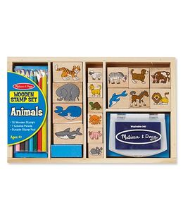 Melissa & Doug Wooden Animal Stamp Set - 16 Pieces