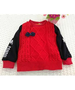 Tickles 4 U Self Weave Sweater - Red