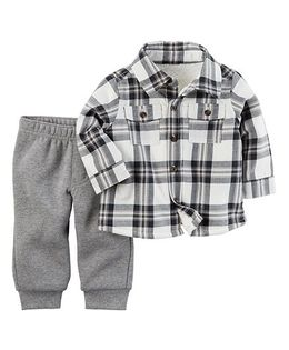 Carter's 2-Piece Flannel Top & Pant Set - Grey