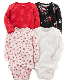 Carter's 4-Pack Long-Sleeve Original Bodysuits - Red Multi Color
