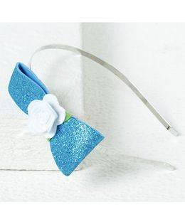 Aayera'S Nest Frozen Glitter Bow Hairband - Blue & White