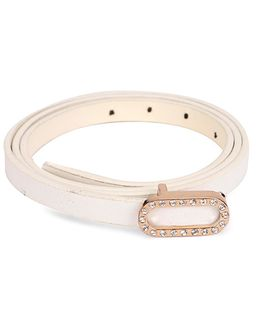 Kid-o-nation Leather Belt With Diamond Studded Buckle - White