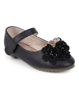 One Friday Shoes With Beads On Flower Attached - Black
