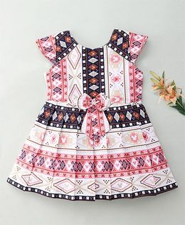 Enfance Geometric Printed Dress With A Cute Tie Bow - Pink