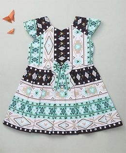 Enfance Geometric Printed Dress With A Cute Tie Bow - Green