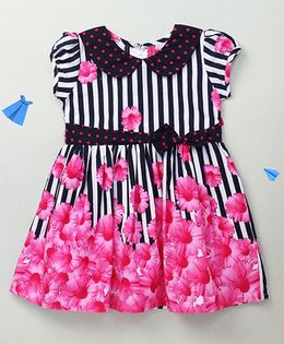 Enfance Peter Pan Collar Floral Dress With Bow - Pink