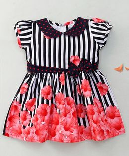 Enfance Peter Pan Collar Floral Dress With Bow - Red