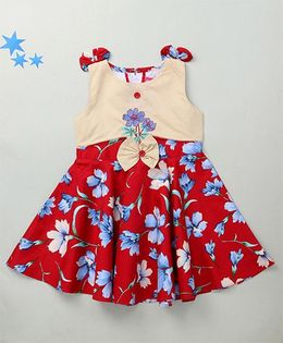 Enfance Floral Embroidery Dress With Shoulder Bow - Red