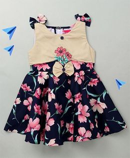 Enfance Floral Embroidery Dress With Shoulder Bow - Blue