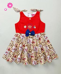 Enfance Crown Embroidered Dress With Flying Bow On Shoulder - Red & Yellow