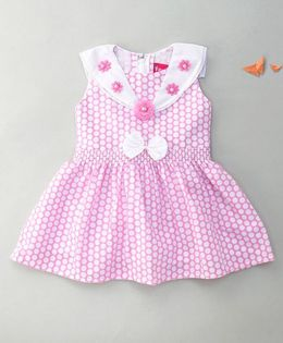 Enfance Polka Dot Dress With Flower & Bow - Pink