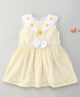 Enfance Polka Dot Dress With Flower & Bow - Yellow