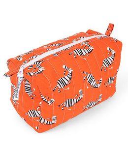 Frangipani Kids Zebra Print Toiletry Bag - Orange