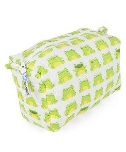 Frangipani Kids Frog Print Toiletry Bag - Green