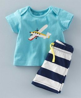 Superfie Plane Printed Tee & Stripes Shorts - Blue