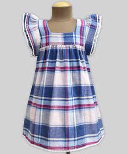 A.T.U.N Berry Blend Flannel Check Angel Sleeve Dress - Blue & White