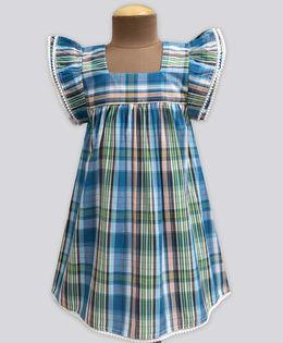 A.T.U.N Sea Splash Madras Check Angel Sleeve Dress - Blue & Green