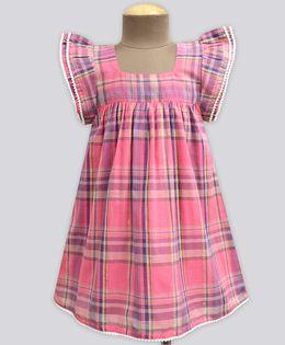A.T.U.N Candy Tartan Plaid Angel Sleeve Dress - Pink