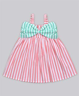 A.T.U.N Stripe Katie Dress With Bow Detailing - Coral Pink