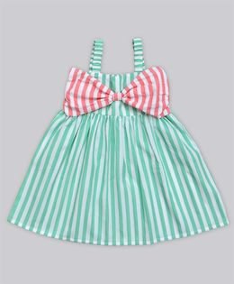 A.T.U.N Stripe Katie Dress With Bow Detailing - Green