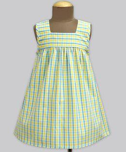 A.T.U.N Morning Glory Tattersall Check Poppins Dress - Yellow & Green