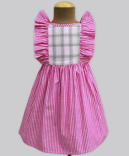 A.T.U.N Pink Stripe & Blush Check Ruffle Dress - Pink
