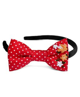 Pigtails & Ponys Polka Dots Embroidered Bow Headband - Red