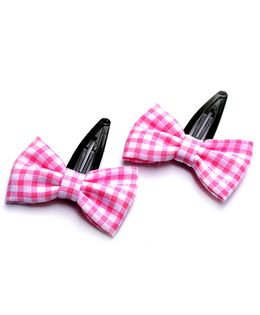 Pigtails & Ponys Checks Gingham Bow Hair Clips - Pink