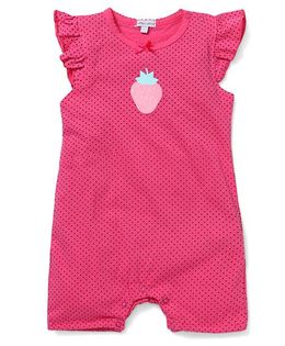 Mothers Choice Flutter Sleeves Dotted Romper Strawberry Print - Pink