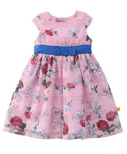Yellow Duck Cap Sleeves Floral Print Frock - Pink
