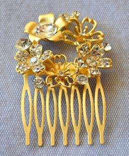 Pretty Ponytails Ornate Circular Floral Matte Diamante Hair Comb - Gold