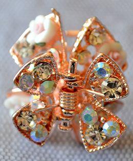 Pretty Ponytails Ornate Floral Matte Diamante Hair Clip - Gold & White
