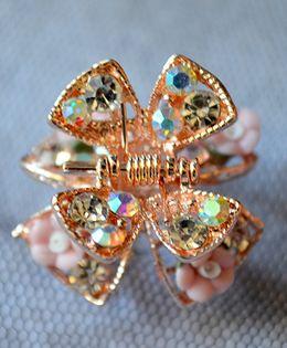 Pretty Ponytails Ornate Floral Matte Diamante Hair Clip - Gold & Pink