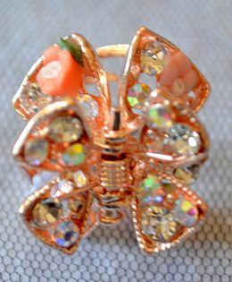 Pretty Ponytails Ornate Floral Matte Diamante Hair Clip - Gold & Multicolor