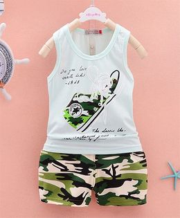 Pre Order - Dells World Military Shoe Printed Tee & Pants - Sea Green & Multicolour