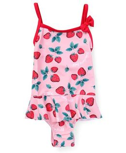 Fox Baby Frock Swimsuit Strawberries Print - Pink