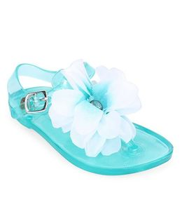 Pumpkin Patch Flip Flops Floral Applique - Blue