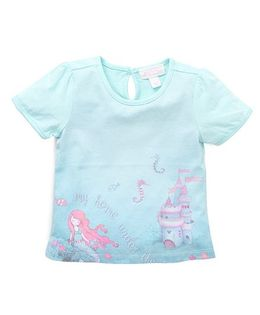 Pumpkin Patch Half Sleeves T-Shirt Mermaid & Sea Horse Print - Misty Jade