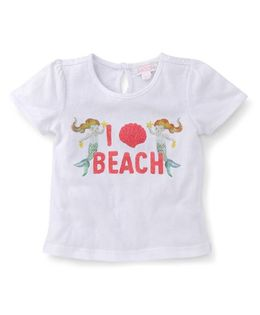 Pumpkin Patch Half Sleeves Top Mermaid Print - White