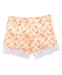 Pumpkin Patch Shorts Pineapples Print - Orange Yellow