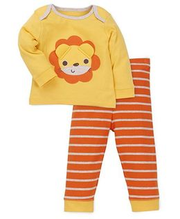 Mothercare T-shirt And Pajama Set - Yellow And Orange