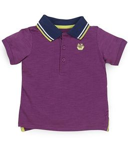 Mothercare Half Sleeves Polo T-Shirt Embroidered - Purple