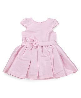 Mothercare Cap Sleeves Frock With Floral Applique - Pink